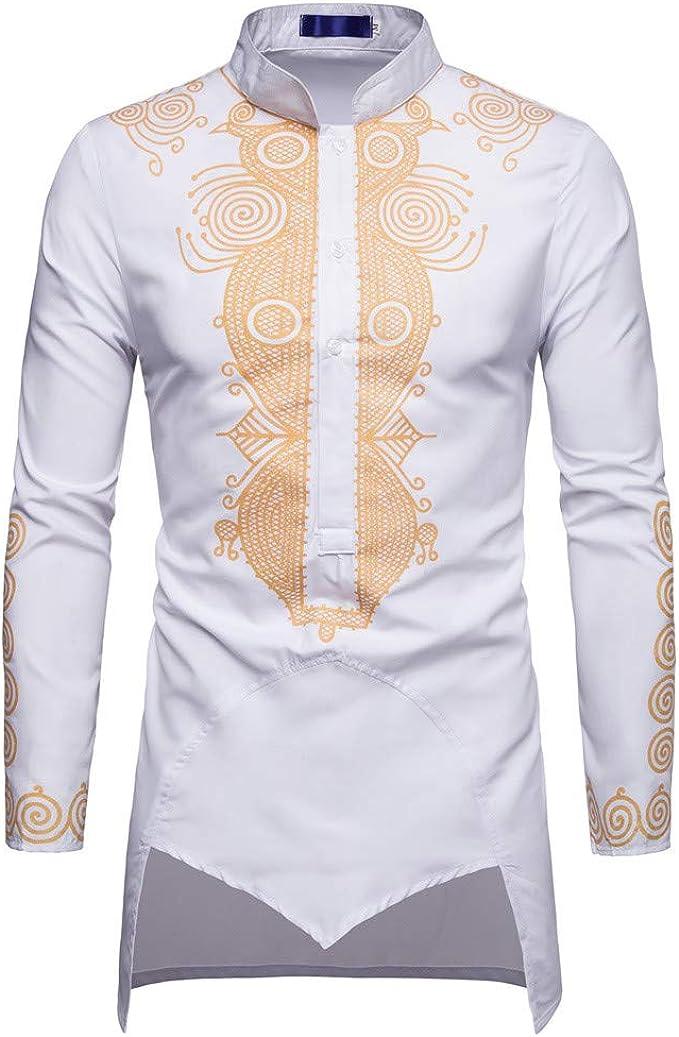 Estampado de Grafiti Dorado Estilo étnico de Estilo Africano para Hombre, Camiseta de Manga Larga Camiseta Top de Internet: Amazon.es: Ropa y accesorios