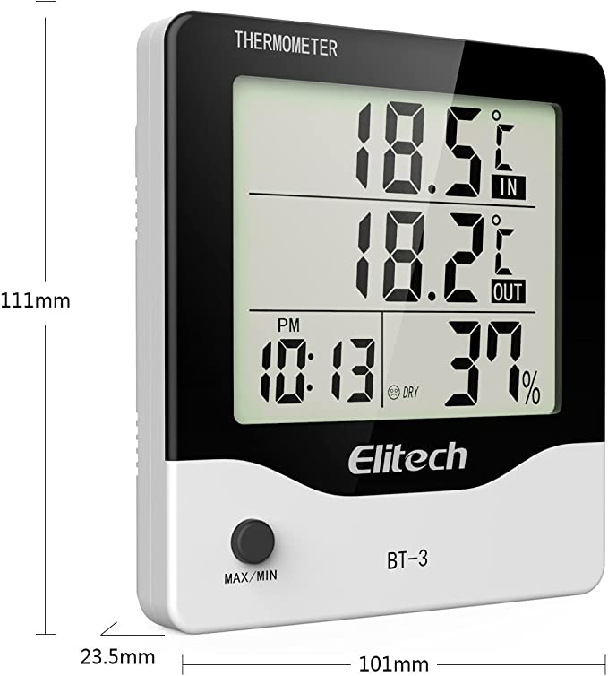 Elitech BT-3 LCD Indoor//Outdoor Digital Hygrometer Thermometer Humidity Monitor with Clock and Min//Max Value