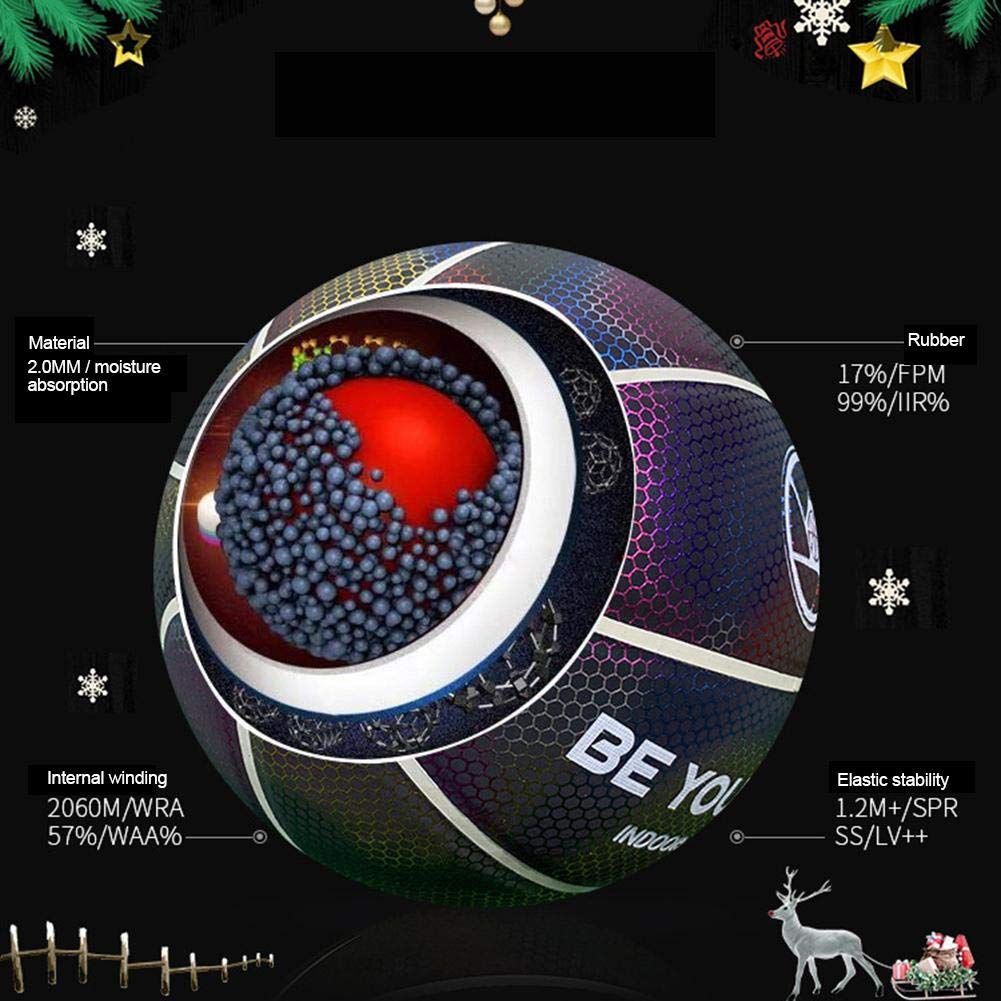Greatideal Light Up Basketball Reflective Glow In The Dark Basketball Night-Light Ball Toy Gift For Kids Boys Wear-Resistant Anti-Slip with Ball Bags