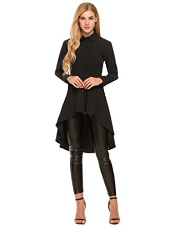 d9f5e470902 Zeagoo Womens Casual Long Sleeve High Low Casual Long Maxi Tunic Blouse Shirt  Tops Black