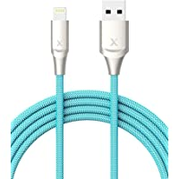 Xcentz 6-Foot MFi Certified Braided Lightning Cable Premium Zinc Alloy Connector for iPhone X/XS Ma/XR/8 Plus/7/6/5/SE, iPad (Blue)
