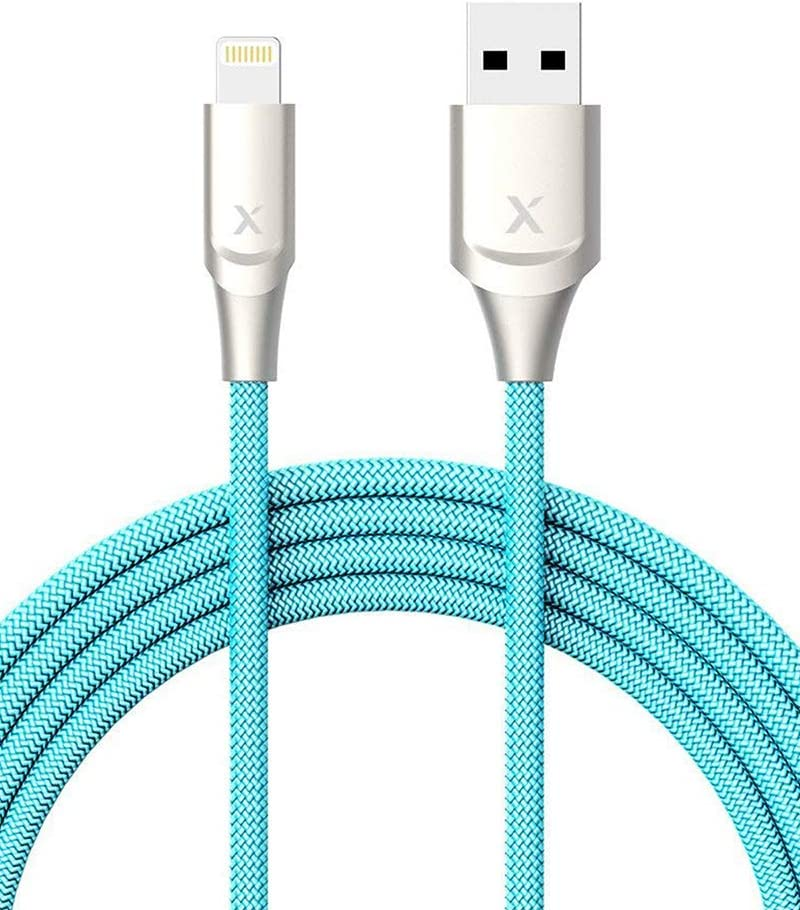 Xcentz iPhone Charger 6ft, Apple MFi Certified Lightning Cable iPhone Charger Cable Metal Connector, Durable Braided Nylon High-Speed Charging Cord for iPhone X/XS Max/XR/8 Plus/7/6/5/SE, iPad, Blue