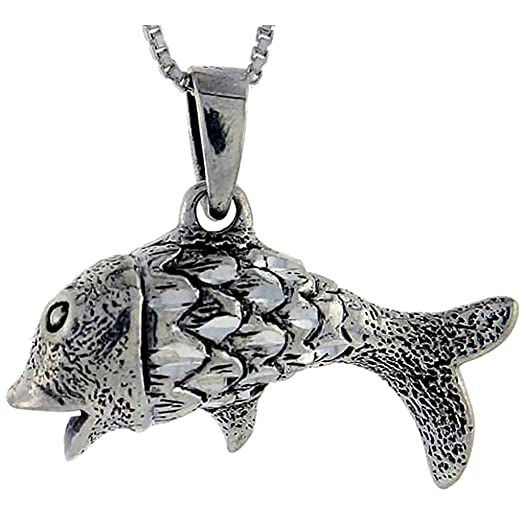 Amazon sterling silver fish pendant 1 inch tall jewelry sterling silver fish pendant 1 inch tall aloadofball Image collections