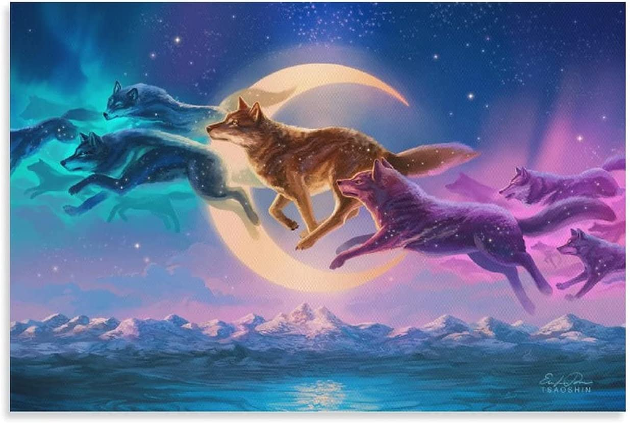 HD Wallpaper Art Fantasy Animal Wolves Living Room Decoration Print Paintings Canvas Art Poster and Wall Art Picture Print Modern Family Bedroom Decor Posters 12×18inch(30×45cm)