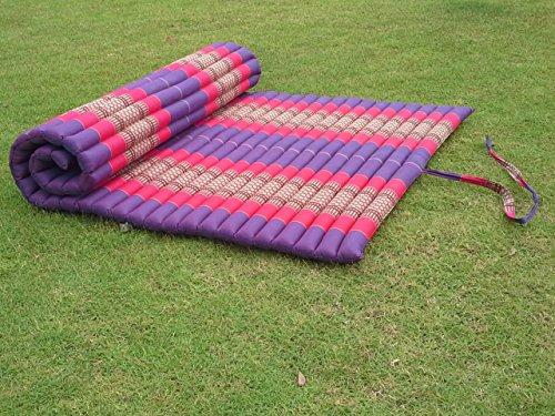 Roll up Thai Mat Fold Out Mattress Meditation Cushion 100% Kapok (Pink) by NOINOI