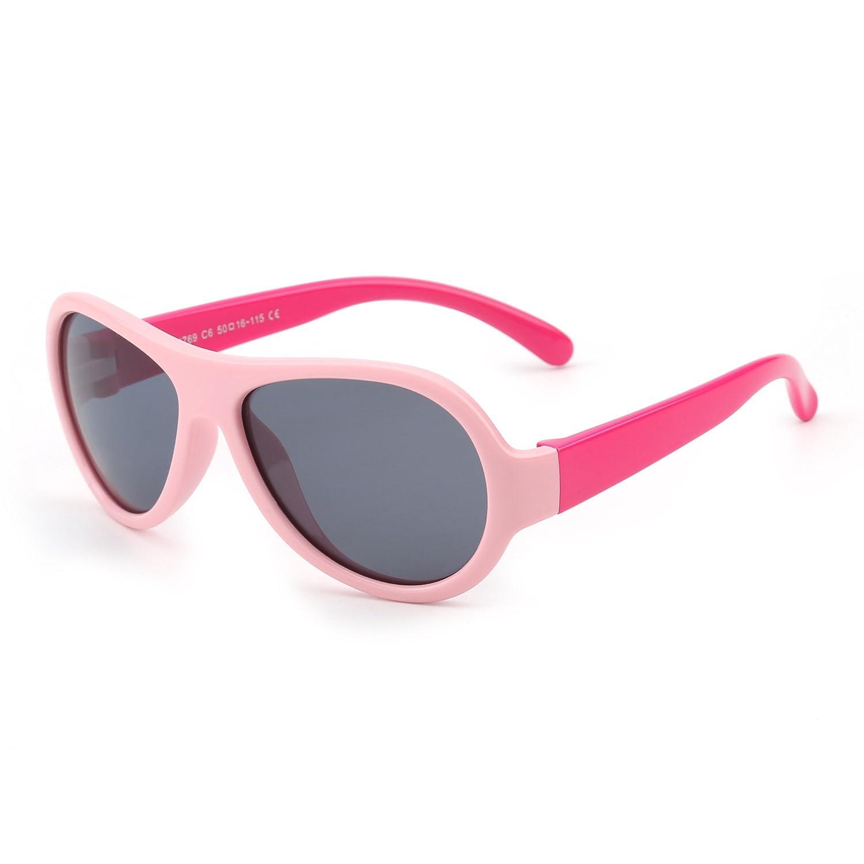 Kids Rubber Polarized Sunglasses Unbreakable Children Girls Boys Age 3-12 T1769C9