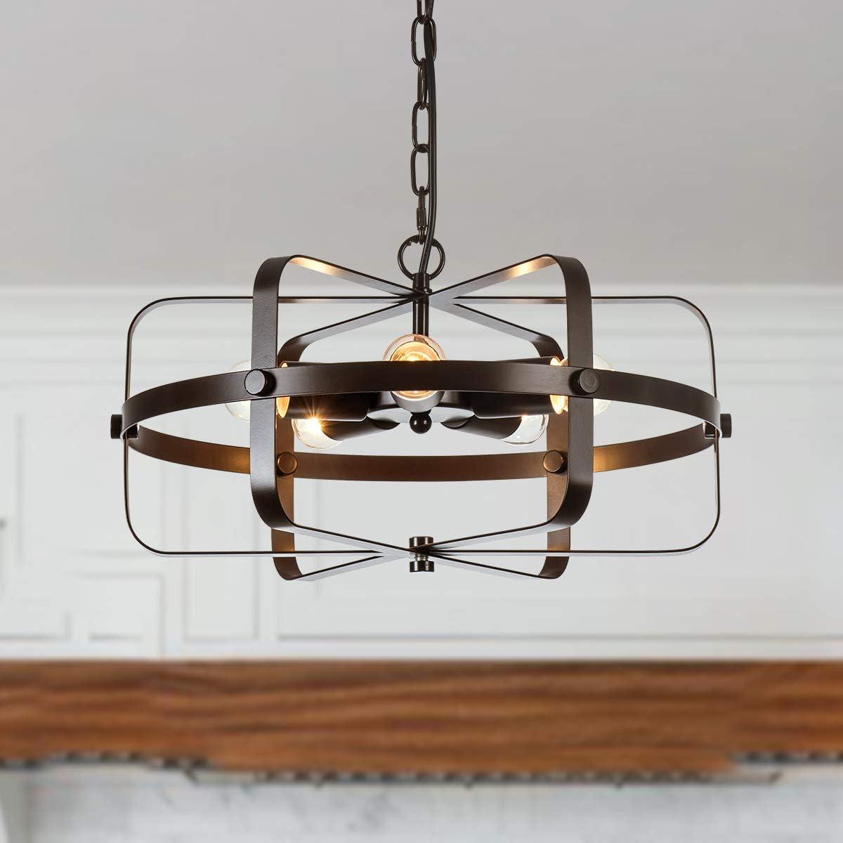 PUSU Industrial Metal Indoor Pendant Light Fixtures 5-Light Brown Chandeliers Cage Hanging Lighting for Living Room Dining Bedroom Bar and Kitchen.