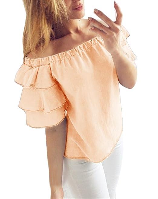 Mujer Blusas De Verano Manga Corta Sin Hombro con Volantes Camisas Dulce Lindo Chic Color Sólido Casual Moda Señora Tops Camiseta: Amazon.es: Ropa y ...
