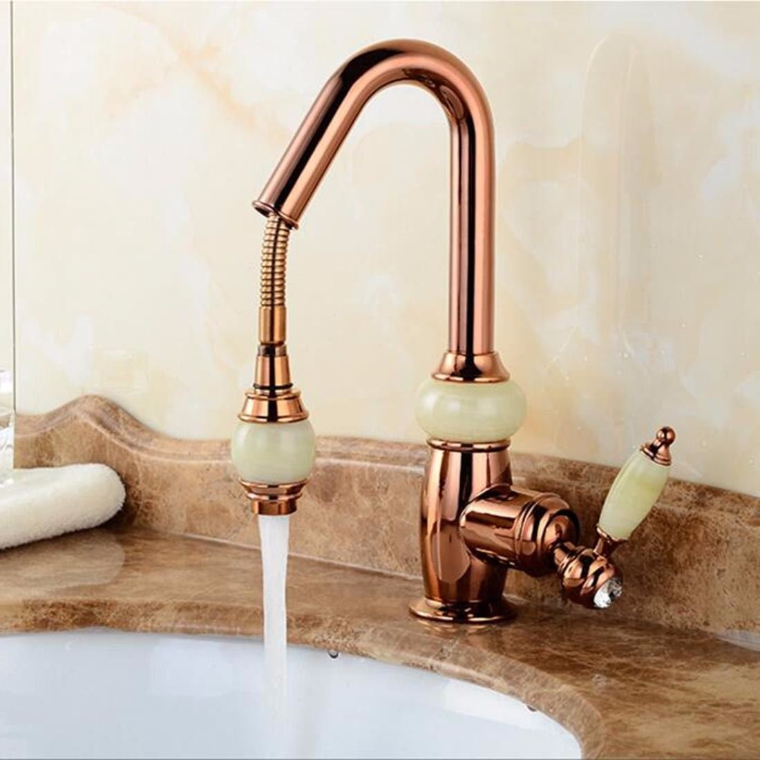 C Lpophy Bathroom Sink Mixer Taps Faucet Bath Waterfall Cold and Hot Water Tap for Washroom Bathroom and Kitchen Pull-Type Hot and Cold gold Can Be redated D