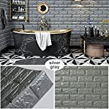 Goetland 5.9 Sq Ft 3D Brick Wall Panels Stickers PE Foam Self Adhesive Wallpaper Removable Wall Decoration, Pack of 10, Grey