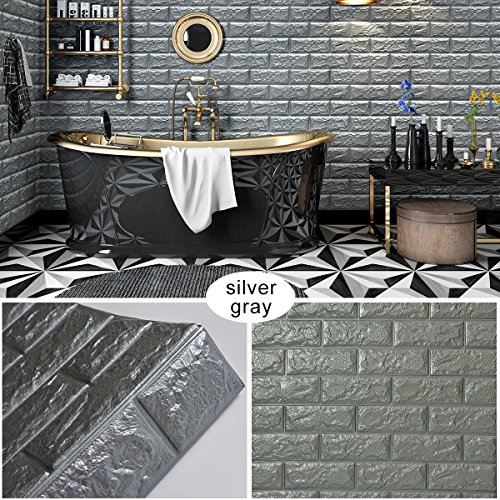Goetland 5.9 Sq Ft 3D Brick Wall Panels Stickers PE Foam Self Adhesive Wallpaper Removable Wall Decoration, Pack of 10, Grey -