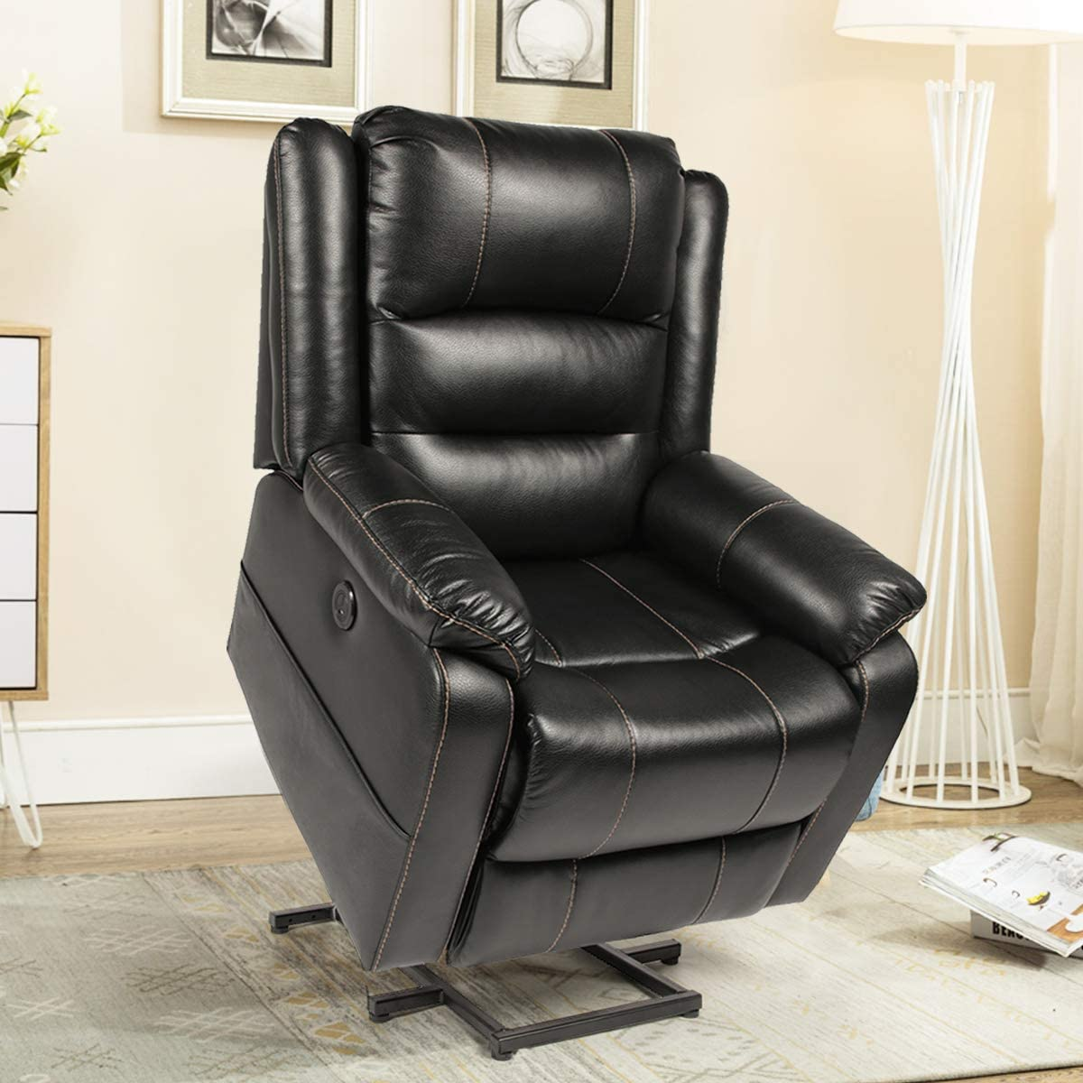 Esright Power Lift Chair Faux Leather Electric Recliner for Elderly, Heated Vibration Massage Sofa with Side Pockets, USB Charge Port Remote Control, Black