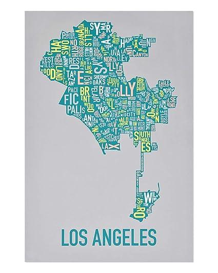 Amazon Com Ork Posters Los Angeles Neighborhoods Map Art Screen