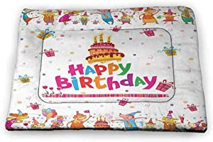 Nomorer Large Dog Food Mat Birthday Rectangle Mat for Dogs and Cats Joyful Mouses Partying Presents and Delicious Cake with Candles Festive Cartoon 35