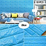 Tools & Hardware : Masione Foam Brick 3D Wall Panels Self-adhesive Removable for TV Walls, Background Wall Decor (Blue-10PCS)