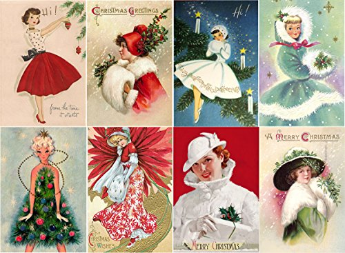 """Large Stickers (each sticker 2.5x3.5"""", 8 pics on sheet) Vintage Christmas Girl Gift FLONZ Craft"""