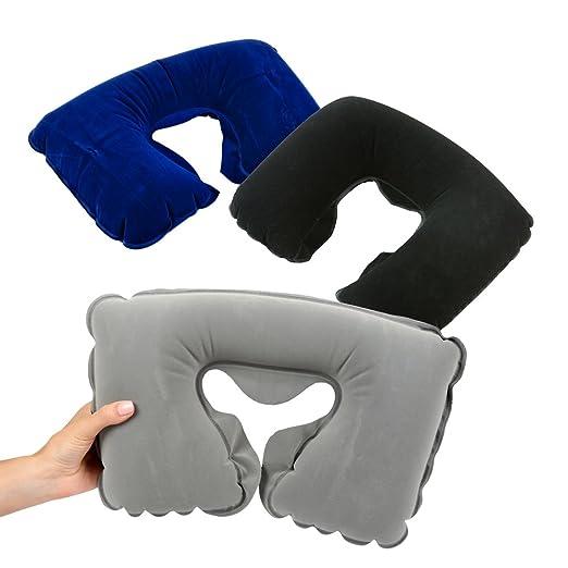 Blue Oceans 3pcs Cojín Cervical/Pillow Hinchable de superweichem Flocado Cojín con hygienischer Bombas de tecnología, cojín de Viaje, cojín Cervical ...