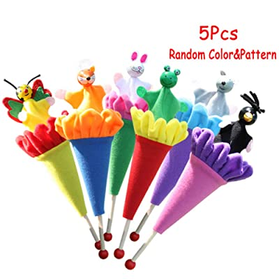 5 pcs Pop Up Cone Plush Puppets, Cute Animals Pop up Puppet Theater Telescopic Stick Rods Doll Fox Crow Bee Frog White Rabbit Gray Wolf Wooden Educational Toy by Sealive (Random Color): Office Products
