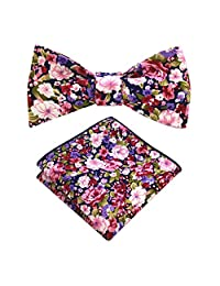 JEMYGINS Cotton Paisley Self Tie Bow Tie and Pocket Square Set for Men