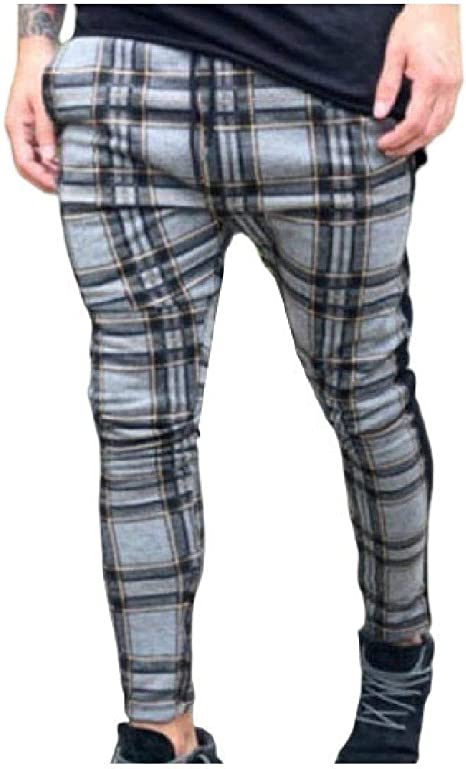Nicellyer Men's Strappy Relaxed-Fit Plaid Pattern Mid Waist Fashion Casual Trousers