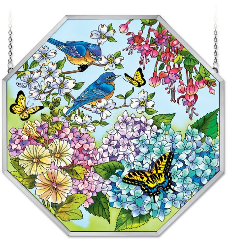 Amia Window Decor Panel Featuring a Bluebird and Butterfly Design, Hand Painted Glass, 22-Inch by 22-Inch