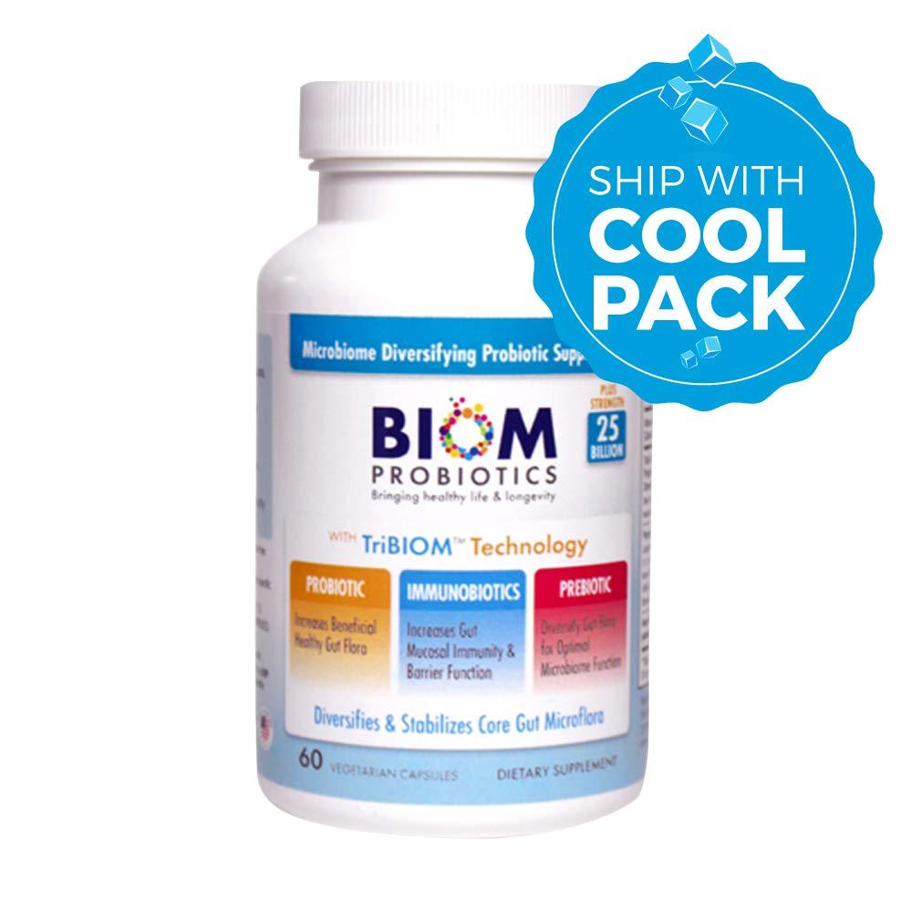 Biom Probiotics 3-in-1 Formula (COLD SHIPPED) With- 25 Billion Flora Probiotics, Prebiotics and Immunobiotics for Healthy Life & Longevity - Diversifies Gut Microflora and Microbiome - For Men & Women