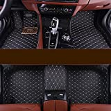 for Jeep Wrangler 08-17 floor Mats -SEAMETAL JD4 Custom Fit 4 Doors Floor Liners,Luxury XPE Leather Floor Carpets,Waterproof,Black with Golden Stiching