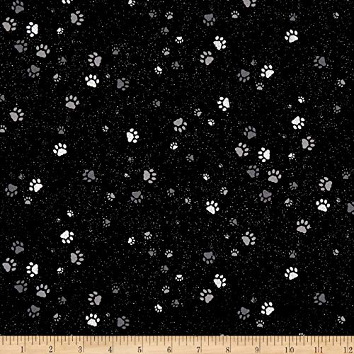 Hoffman Fabrics Full Moon Paw Prints Metallic Fabric, Onyx/Silver, Fabric By The Yard