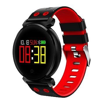QHJ Bluetooth Smart reloj IP68 resistente al agua Fitness Tracker Tensiómetro Pulsómetro, rojo