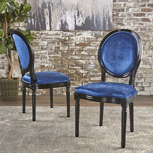 Christopher Knight Home 301351 Camille Dining Chair Set, Navy Blue/Gloss Black (Medium Oak Finish Blue Fabric)