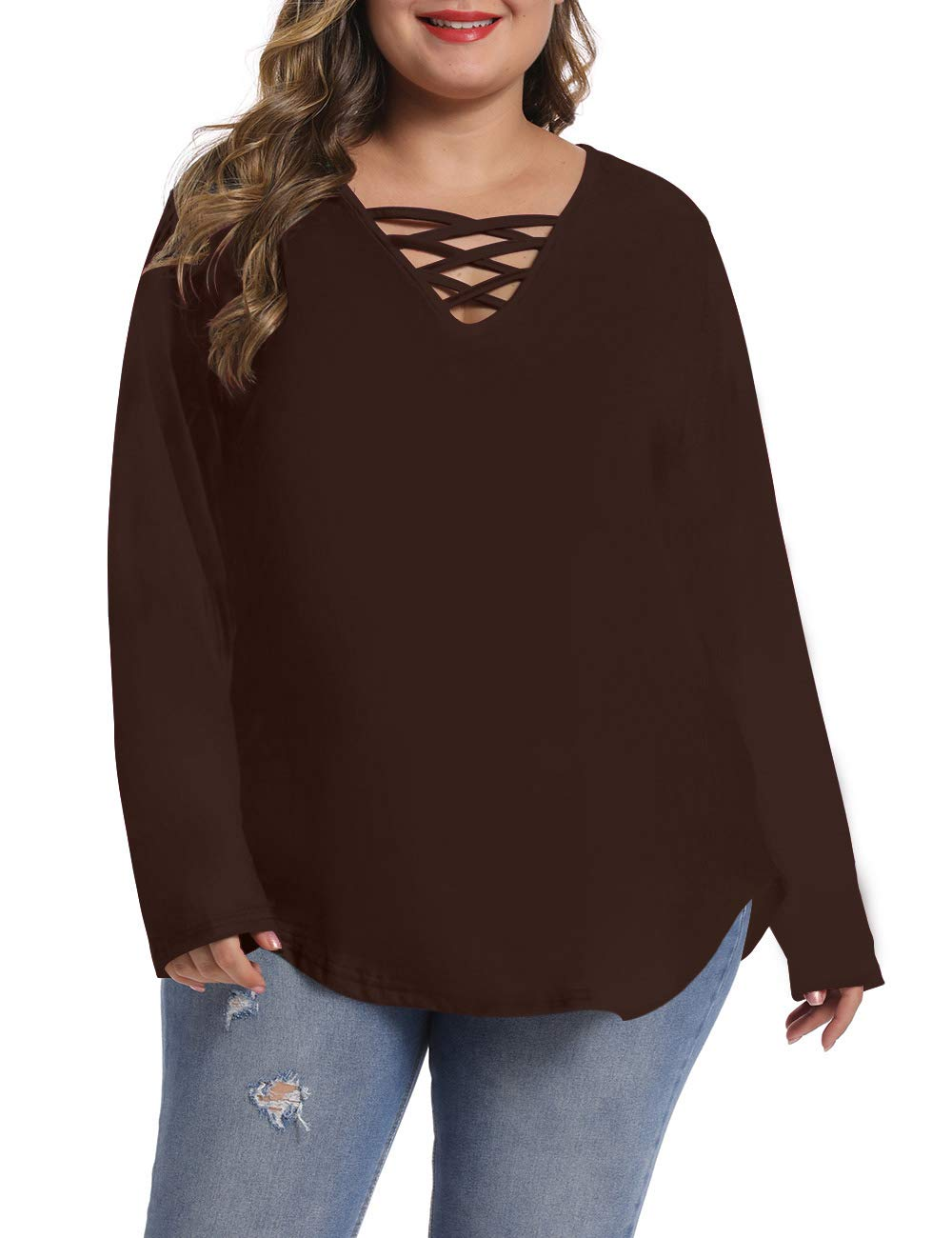 caidyny Womens Plus-Size Sexy V-Neck Tops, Causal Long Sleeve Soild Color Tunic Shirts(Dark Brown, 3XL)
