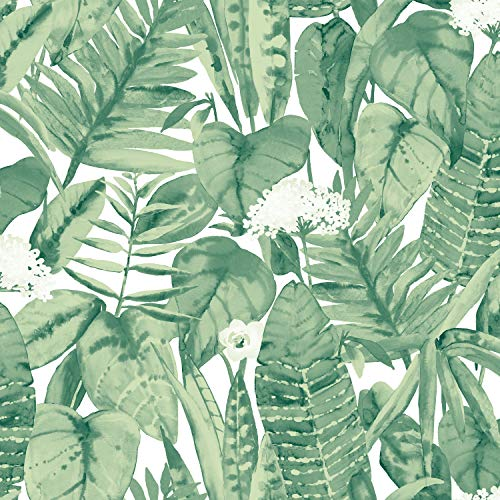 - Tempaper Jungle Green Tropical | Designer Removable Peel and Stick Wallpaper
