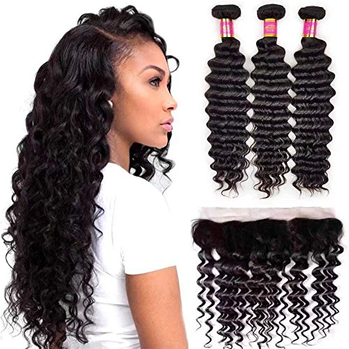 ShowJarlly 8A Indian Deep Wave 3 Bundles with Lace Frontal Closure 13x4 Ear to Ear Lace Frontal Closure with Baby Hair and Deep Curly Virgin Hair Bundles