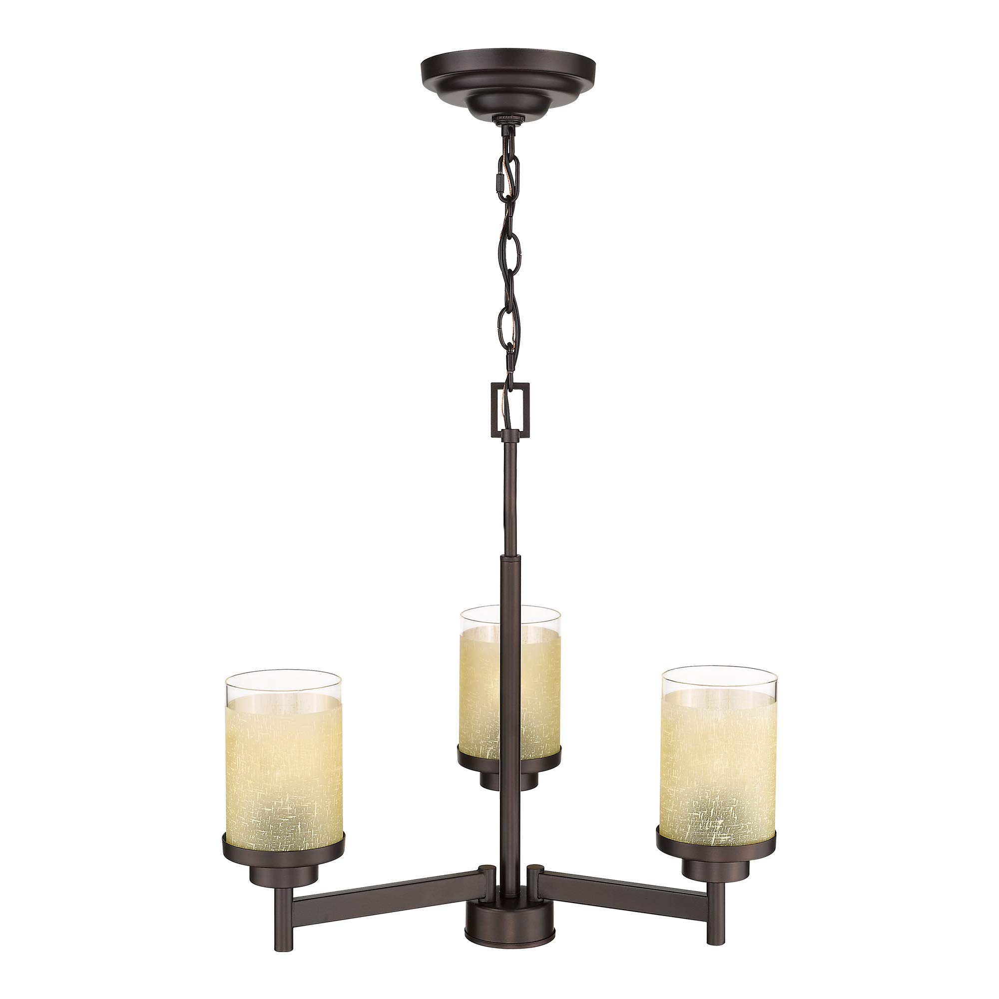 Jazava Modern Kitchen Chandelier, 3-Light Rustic Kitchen Island Lighting, Oil Rubbed Bronze with Yellow Linen Frosted and Clear Glass Shades for Farmhouse, Dinning Room, Living Room by JAZAVA