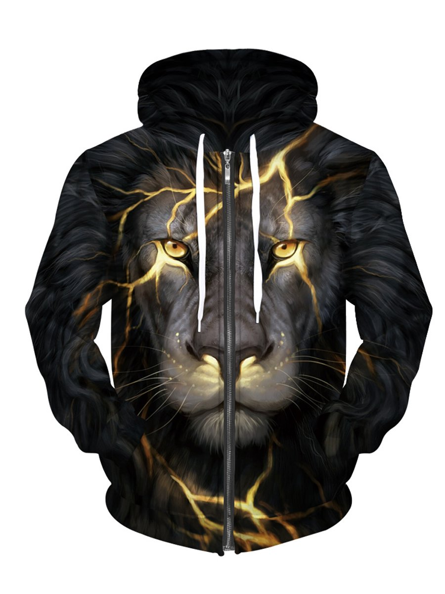 Royalove Coats For Women Plus Size 3D Digital Printed Full-Zip Hoodie Jacket Sweatershirt Lion XL