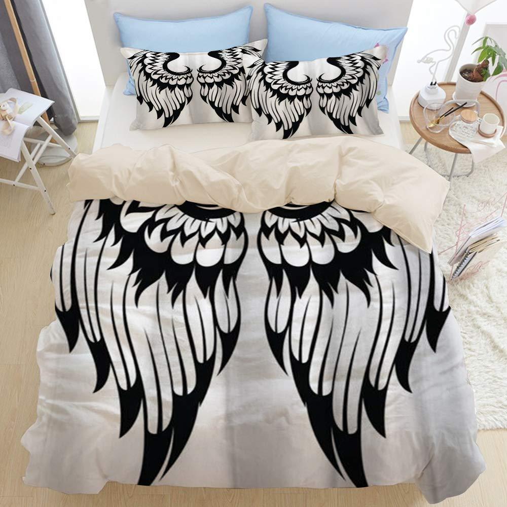 DAOPUDA Decorative Fairytale Eagle Angel Wings Fairy Pigeon Gothic Fantasy Dove Hawk Design 3pcs Bedding Duvet Cover Set with 2 Pollow Shams for Home Hotel Dorm Decoration,Beige Reversible,Full 80x90