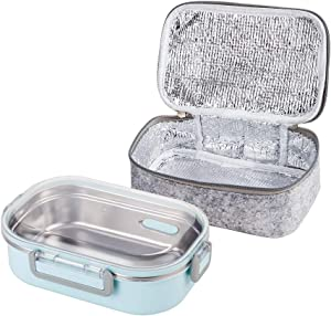 Lille Home 22oz Stainless Steel Leakproof Lunch Box, Bento Box/Food Container with Insulated Lunch Bag, Durable Handles and Lid, Adults, Men, Women (Blue)