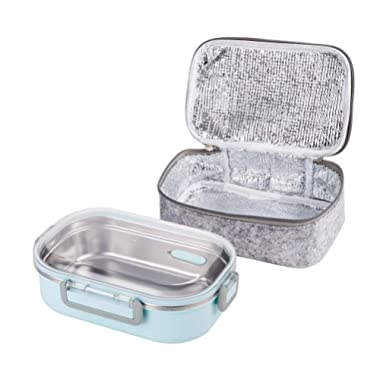 Lille Home 2nd Gen 22oz Stainless Steel Leakproof Lunch Box, Insulated Bento Box/Food Container with Insulated Lunch Bag | Durable Handles and Lid | Adults, Kids | Men, Women (Blue)