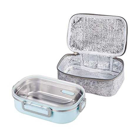 d35ce3e9dd6f Lille Home 2nd Gen 22oz Stainless Steel Leadproof Lunch Box, Insulated  Bento Box/Food Container with Insulated Lunch Bag | Durable Handles and Lid  | ...