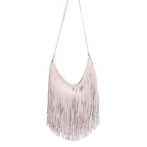 c1e6f42cda Fashion Bazaar Womens Designer Style Fringe Shoulder Bag Faux Leather  Tassel Messenger Jessie Handbag (Cream