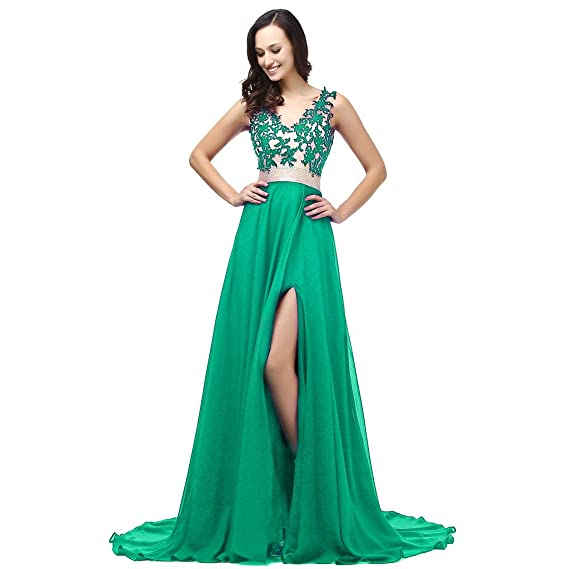 Baijinbai Womens Chiffon V Neck Applique Formal Homecoming Bridesmaid Party Cocktail Prom Dresses Green UK6