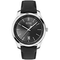 HUGO Men's Stainless Steel Quartz Watch with Leather Strap, Black, 20 (Model: 1513729)
