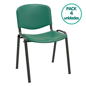 Silla confidente ISO apilables Ideal para Salas reuniones plástico Polipropileno (Pack 4 Unidades) (Verde)