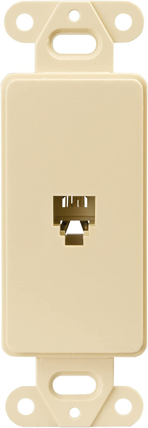 EATON Wiring 3560-4V Decorator Insert Single Telephone Jack with 4-Conductors, Category 3 RJ11 or RJ14, Ivory