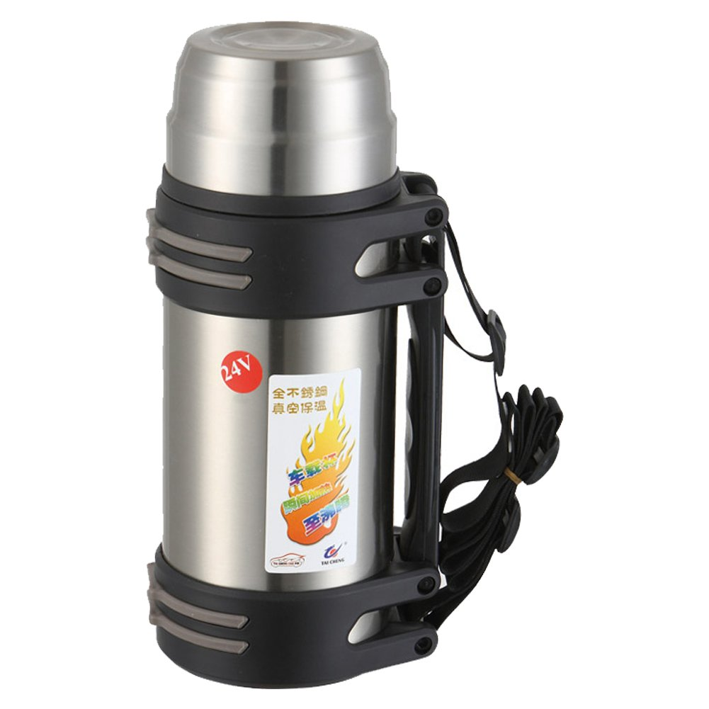 TAICHENG Car Electric Kettle Boiling DC 12V Cigarette Lighter Heating Cup Vacuum Insulated Stainless Steel-Black 850ml-Silver