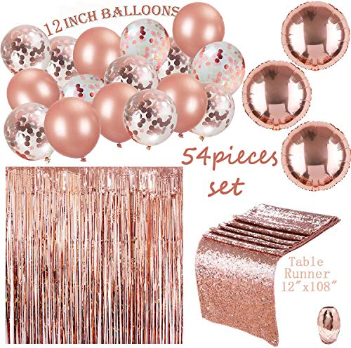 54 Pack Rose Gold Set 12inch Rose Gold Confetti Balloons with Table Runner and Foil Curtain, Ribbons for Party Baby Shower Birthday - Shower 12 Inch Rose
