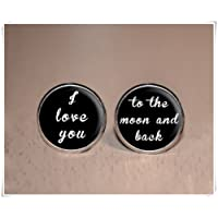Magical magnet Groom Cufflinks for Weddings - I Love You to The Moon and Back - Black Suit Accessories