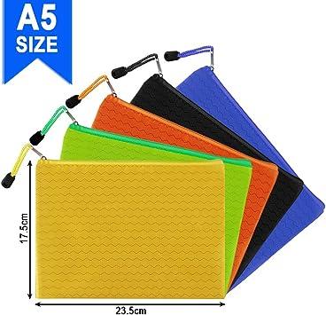 color al azar Bolsa de lona para archivos HOMEJIA con cremallera 12 unidades resistente al agua