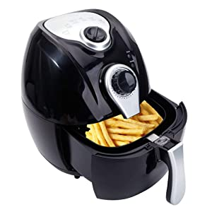Mefeir Electric Air Fryer 4.4Quart 1500W Quick Cooking/Power Saving/Easy Cleaning, Automatic Healthy Air Frying Machine with Metal Holder and Cooking Tongs (Black)