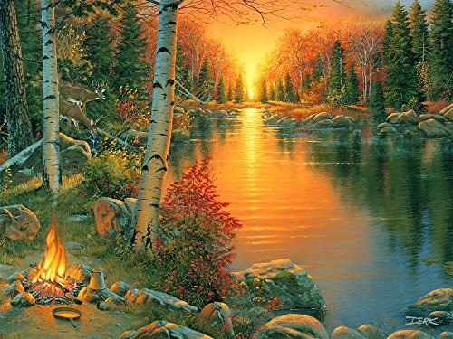 River's Edge Campfire at Sunset LED Lighted Gallery Wrapped Canvas Art, 16